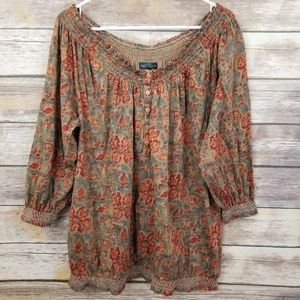 Ralph Lauren PLUS 2X Fall Floral Blouse Smocking